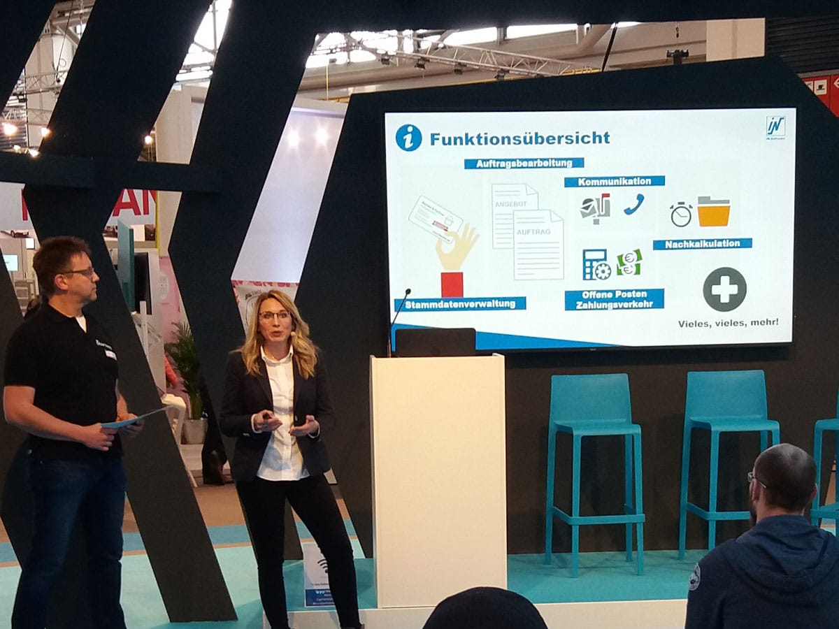 """Branchensoftware + Handwerker App = die smarte Verbindung zwischen Baustelle und Büro"" Impulsvortrag mit Dirk Stefen, myCraftnote Digital GmbH, Gründer & Vertrieb + Juliane Packlin, IN-SOFTWARE GmbH, Projektmanagement Partnermarketing"